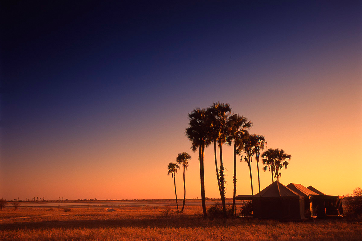 Sunset at San Camp in Botswana