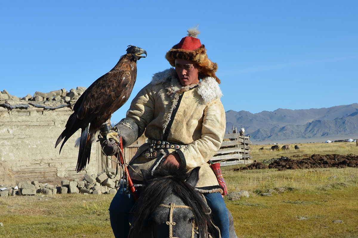 Man with Eagle in Mongolia