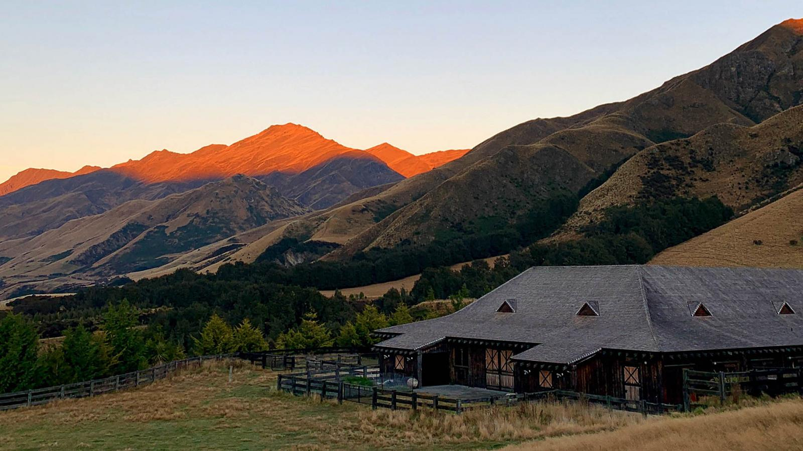 Sunrise view at Mahu Whenua Lodge in New Zealand's South Island